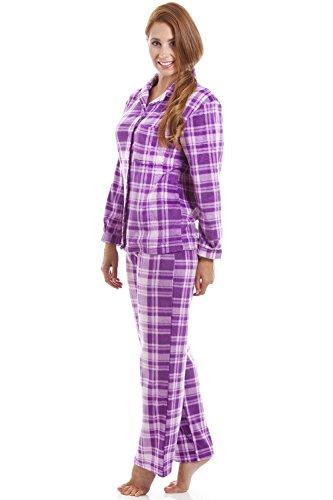 ... Langes Pyjama-Set mit Knopfleiste vorne - Baumwoll-Flanell - Karomuster  in Fliederfarben ...