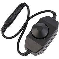 Fantasyworld 12V DC PWM Perilla Manual LED regulador de Intensidad de luz con el botón Dimmer Cable del Mando modulador Alambre para Tira de luz LED