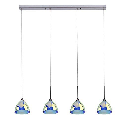 GELED 09010_4_1 4-Light Zwei-Schicht-LED-Anhänger-Insel-Licht mit einer Schicht aus Glas geätzt Socke mit einer Schicht aus Farben-Überzug-Glas, Chrom poliert