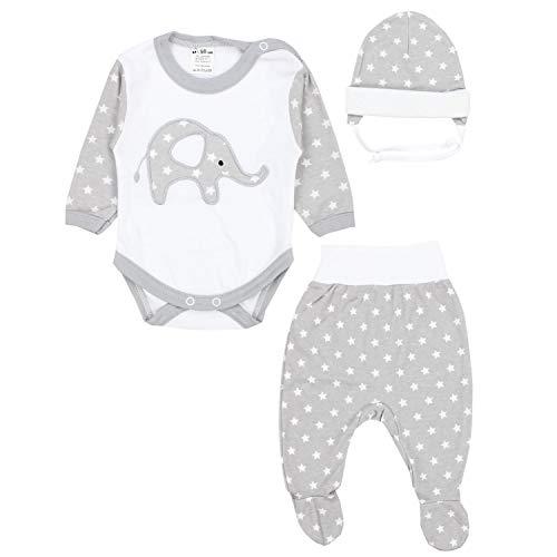 TupTam Baby Kleidung Set Body Strampelhose Mütze Teddybär, Farbe: Elefant Sterne/Grau, Größe: 68 Pack-kleidung