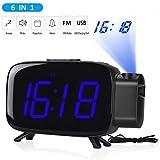 Tinzzi Wecker Digital, Projection Wecker, Digitaluhr, Alarm Clock, FM Radiowecker,Schwarzer Glasschirm mit großen Ziffern, Nacht sichtbar