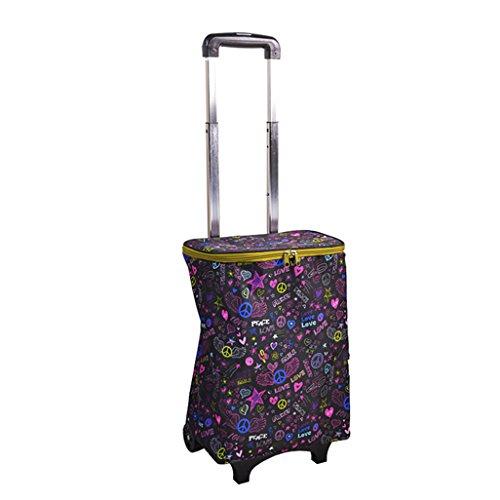Outdoor-Einkaufstaschen Leichte Aluminiumlegierung Faltbarer Einkaufswagen-Wagen-Koffer-Gepäck 2 Lager-leises Rad-zusammenklappbaren Stoß, ziehen Sie Wagen Oxford-Tuch-Einkaufstasche-Wagen-große Kapaz