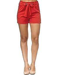 a1dd55ca177923 JillyMode Elegante Kurz Shorts mit Bundfalten und Schleifegürtel I  Mittelhoher Taille I in Viele Farben Gr