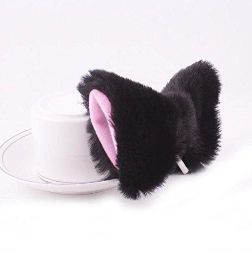 tfxwerws Katze Ohren Haar Clip Haarspange (schwarz und rosa)