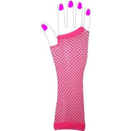 80er LOOK - Mädchen Fingerlose Fischnetz Lange Handschuhe INTENSIVES ROSA (Handschuhe Fischnetz Rosa)