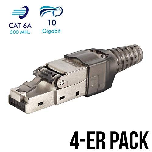 VESVITO 4er Set Netzwerkstecker feldkonfektionierbar RJ45 CAT 6A geschirmt 10 GBit/s 500 MHz Ethernet werkzeuglos LAN Kabel CAT 7 Crimpstecker Steckverbinder Stecker Netzwerkkabel Verlegekabel - Stecker Keystone Jack