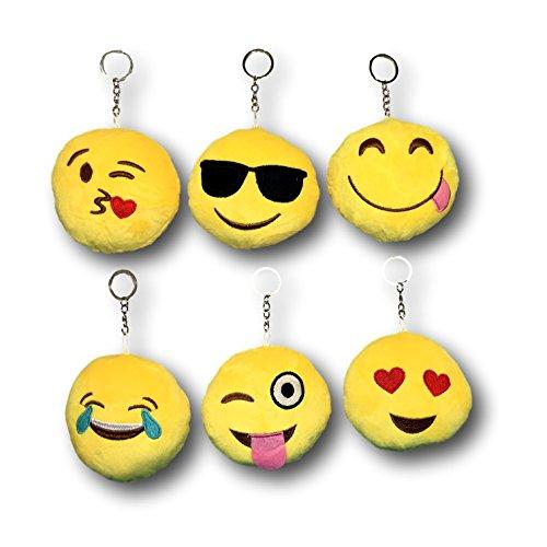 EKNA Emoticon | Plüsch Schlüsselanhänger mit Ring | Smiley | 6er Set - Ringe Süße Zunge