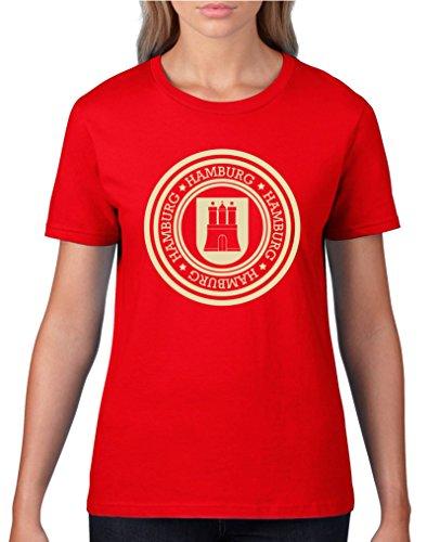 Comedy Shirts - Stadtwappen Hamburg - Damen T-Shirt - Rot/Beige Gr. S
