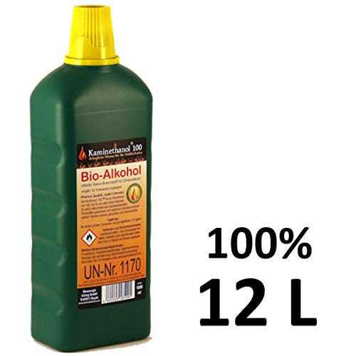 12 x1 L Flaschen Bioethanol 100{431b8e2cb23a3c7e4643147342697cce1a52226166b2b068db0bd5afe3200cd5}, Bio Alkohol 10 + 2 Liter Brennstoff für Kamin