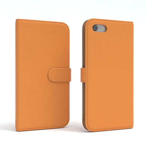 "iPhone 8 Hülle / iPhone 7 Wallet Case - EAZY CASE Bookstyle Cover ""VINTAGE"" Klapphülle für Apple iPhone 7 & iPhone 8 - Edle Schutzhülle als Geldbeutel mit Kartenfach in Anthrazit Schwarz Orange - Uni"