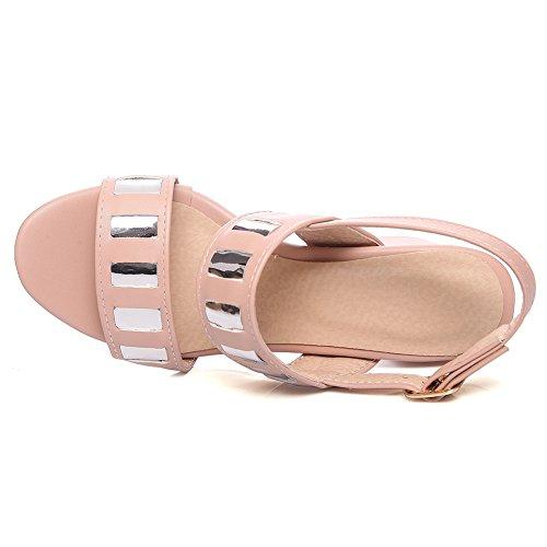 Damen Sandalen Open Toe Blockabsatz Pailleten Slingback Schnalle Pink