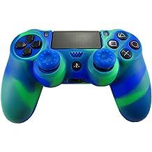 Pandaren® Silikon hülle skin Schutzhülle für PS4 controller (blau grün) x 1 + thumb grip aufsätze x 2
