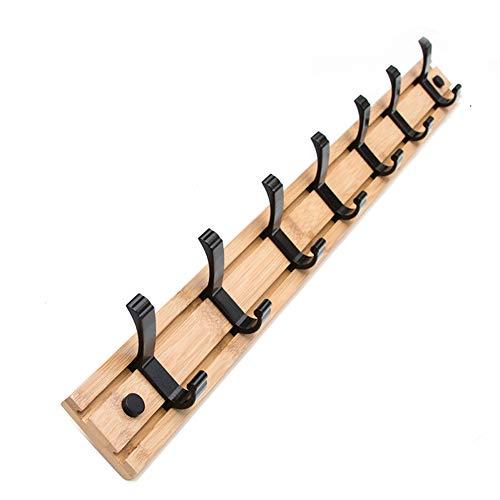 Portemanteau rack porte-manteau en bambou cintre mur crochet chambre à coucher,7hook