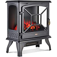 VonHaus Panoramic Electric Stove Heater – 1800W Fireplace with LED Log Fire Flame Effect – Adjustable Thermostat, Freestanding & Portable with Overheat Protection - Ideal for Living Room - Black