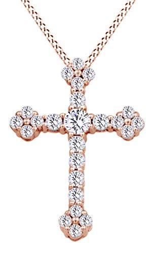 AFFY Herren Damen Unisex Kinder -  Gold 9 Karat (375)  10-Karat-Rotgold Rundschliff    Diamant  (10 K Gold Herren Halskette)