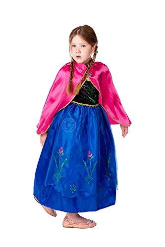 Gefrorene Anna Kostüme Halloween (Ducomi® Princess - Kleine Mädchen Dressup Fantastisches Kostüm - Perfekt für Party, Halloween, Karneval und Geburtstagsgeschenk - No Disney (Roter Mantel,)