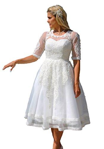 Tee-länge Brautkleid Spitze (Brautkleid Spitze Tee Länge Wadenlang Hochzeitskleid XS S M L XL XXL XXXL XXXXL Braut Kleid Standesamt Weiß Ivory (36, Ivory))