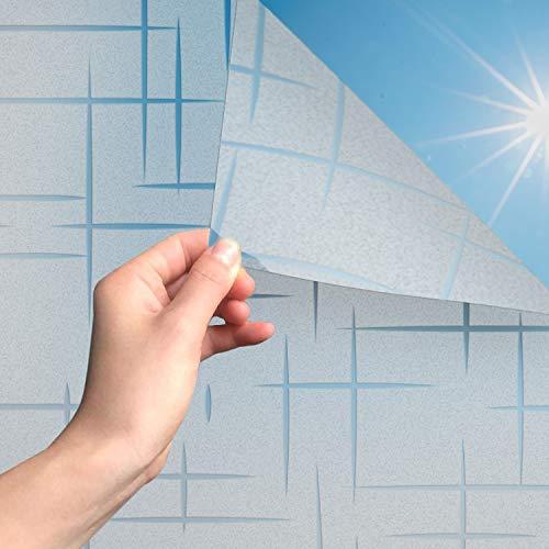 MARAPON®️ Milchglas Fensterfolie mit Sternenmuster [90x200 cm] inkl eBook mit Profitipps - Statische Haftung - Fensterfolie selbsthaftend Blickdicht - Sichtschutzfolie Fenster - Sichtschutz Bad