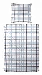 2 tlg Biber Bettwäsche Garnitur Set Karo, 100% Baumwolle, Größe: 135x200 cm, Farbe Hellblau, mit Knopfleiste