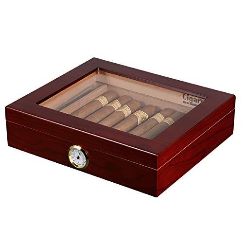 Volenx Cave à cigares avec hygromètre Peut contenir 15-20cigares Marron