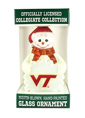 NCAA Virginia Tech Hokies Glass Snowman Ornament by Old World Christmas