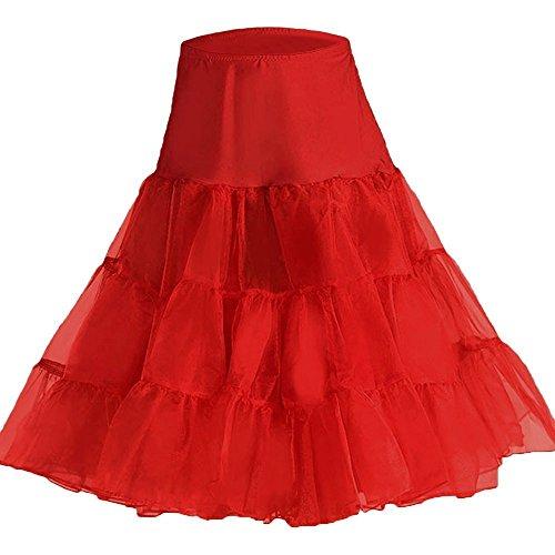 Luna et Margarita Sottoveste Petticoat anni '50 raffinato tulle epoca lunghezza Rockabilly Petticoat 66 centimetri / 26 dal tutu Rosso