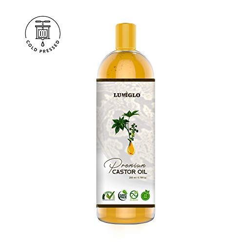 Lumiglo Premium Organic Cold Pressed Castor Oil For Hair, Skin, Nails & Body (200ml)