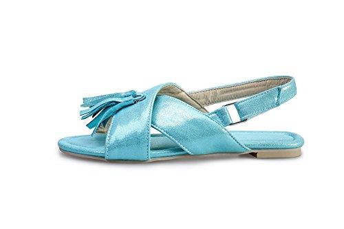 Odomolor Donna Senza Tacco Finta Pelle Scamosciata Puro Velcro Sandali Azzurro