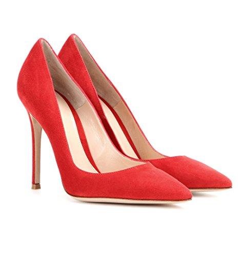 EDEFS Klassische Damen Pumps   Moderne Damen High Heels   Stiletto Schuhe   Damen Geschlossene Pumps Rot