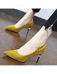 YMFIE Moda punta appuntita scarpe singole primavera e autunno gatto elegante temperamento con fibbia in metallo scarpe da lavoro tacchi alti,…