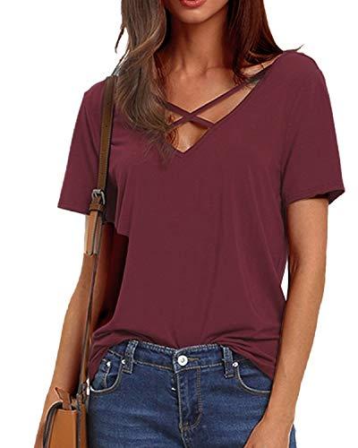 YOINS Bluse Damen Sexy Sommer Top Oberteil Damen Kurzarmshirt T-Shirt V-Ausschnitt mit Schnürung Vorne Tunika Einfarbig -