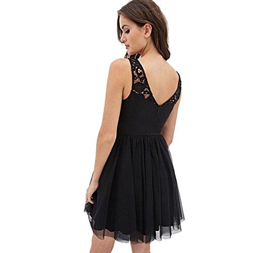 Bekleidung Longra Damen ärmellose Spitzen rückenfreies Kleid Mädchen Sommer Ballkleid Abendkleider Cocktailkleider Black