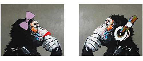 Fokenzary handgemaltes Ölgemälde auf Leinwand, Pop Art, Gorilla-Pärchen beim Musikhören, Wanddekoration, gerahmt, fertig zum Aufhängen, canvas, 24x32inx2pcs