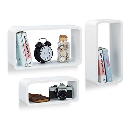 Relaxdays 10021790_49 set 3 mensole da parete, laccato opaco, decorative, varie misure, capacità di carico 10 kg, bianco
