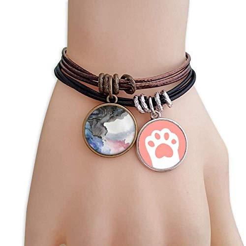 DIYthinker Damen Abstrakt Aquarell Tinte Shading Katzen-Armband-Leder-Seil-Armband Paar Sets -