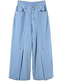 COCO clothing Knopfleiste Mom Jeans Damen Weites Bein Schlitz Freizeithosen  Frauen Hoher Bund Boyfriend Culotte Classical 020a219f7d