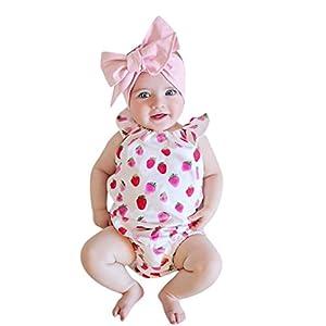 HIrolan Neugeborenes Baby Mädchen Spielanzug Rüschen Spielanzug Früchte Drucken Stirnband Overall Outfit Kleider Kinderbekleidung Blumenkleid Strampler Bodys & Einteiler