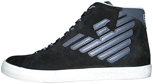 Ea7 emporio armani new pride sneakers alte nere con logo catarinfrangente grigio uomo -42 1/2