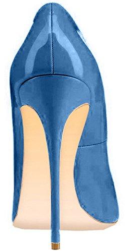 ELEHOT Femme 12cm Taille EU 34-46 Toyque Aiguille 12CM Synthétique Escarpins bleu Royal