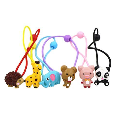 Lurrose 12pcs simpatico cartone animato animale cravatte colorato supporto coda di cavallo elastico per le ragazze