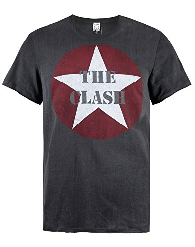 The Clash Star Logo Mens T-Shirt, Charcoal, S to XXL