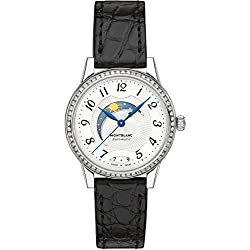 Montblanc Women's Boheme Diamond 30mm Black Alligator Leather Band Steel Case Automatic Watch 114732