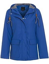 Betty Kay reah chaqueta impermeable con capucha con cordón ajustable y estampado de contraste, mujer, color azul, tamaño medium