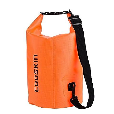 COOSKIN Sac à sec imperméable à l'eau Sac à rouleaux pour Kayak, Tubes, Voyages, Nautisme, Camping, Randonnée, Chasse, Ski, Snowboard (Orange,