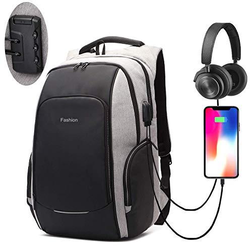 Xnuoyo Anti-Diebstahl Laptop Rucksäcke 15.6 Zoll Handtasche Herren Damen Schulrucksack mit Schloss, USB Anschluss und Headphone Port, Schultertasche mit Croßem Laptopfach und Zubehörfächer (Grau)