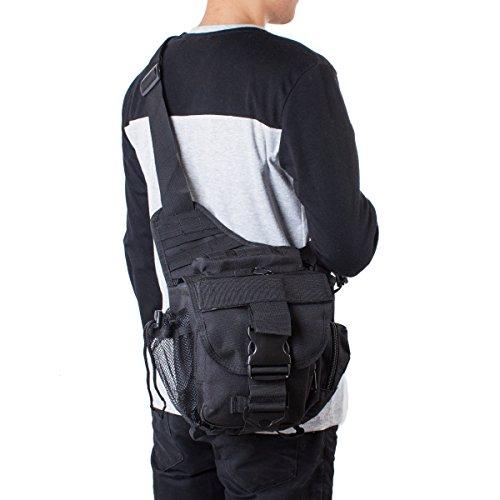 S-ZONE 600D Polyester Molle Tactical Schulterriemen Tasche Military Reise Rucksack Kamera Geld Utility Bag Taille Vagabund Daypack Versipack A-Schwarz