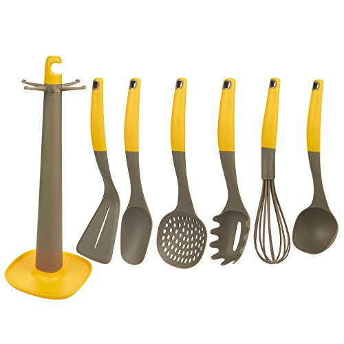 7-Piece Utensil Set - Cooking Utensils Kitchen Tool Set, Nylon Kitchen Gadget Set with Holder Stand, Includes Spatula, Ladle, Whisk, Spoon, Skimmer, Pasta Server, Yellow and Grey