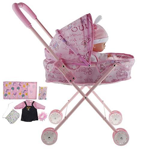 Baoblaze Lebensechtes Kleine Babypuppe Spielzeug mit Kinderwagen Möbel und Zubehör Spielset - # 1