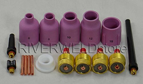 TIG LG Diamètre Gaz Lens Collet Body KIT Fit TIG Soudeur Torch DB SR WP9 20 25,17pcs