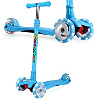 OUTON Kids Scooter Tilt and Turn Kick 3 Wheel Lightweight scooter for Toddler with LED Light Up Wheels, Adjustable Height for Children Boys Girls Scooter Age 3-12